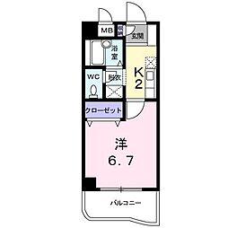 カサ−レ三ケ森[4階]の間取り