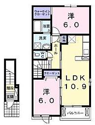 香川県坂出市加茂町の賃貸アパートの間取り