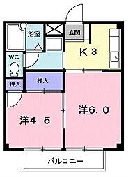 埼玉県志木市中宗岡5丁目の賃貸アパートの間取り