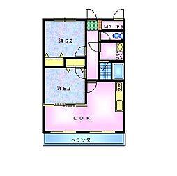 サンハイム秋桜 3階2LDKの間取り