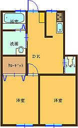 埼玉県熊谷市弥藤吾の賃貸アパートの間取り