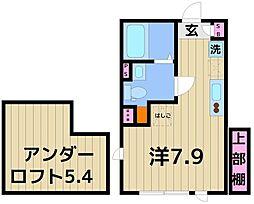 COCOCUBE KITA-SENJU 1階ワンルームの間取り