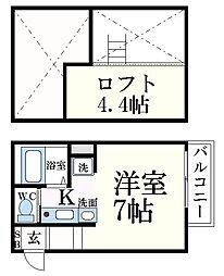 阪神本線 魚崎駅 徒歩7分の賃貸アパート 2階1Kの間取り