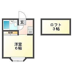 コーポ鶴ヶ舞[2階]の間取り