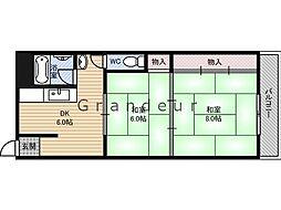 オリーブハイツ 3階2DKの間取り