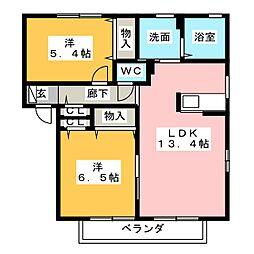 ボワ・クール B棟[1階]の間取り