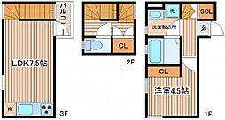 [テラスハウス] 広島県広島市南区大州3丁目 の賃貸【/】の間取り