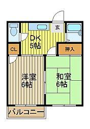 コーポ森田[205号室]の間取り