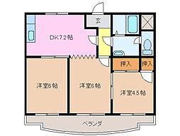 三重県津市神納の賃貸アパートの間取り
