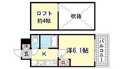 エステムコート三宮駅前ラ・ドゥー[7階]の間取り
