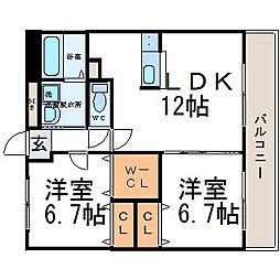 ユマン園田[2階]の間取り