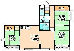 兵庫県伊丹市南野6丁目の賃貸マンションの間取り