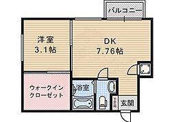 北大阪急行電鉄 桃山台駅 徒歩8分の賃貸マンション 2階1LDKの間取り