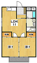 テクノハイム本宿 桜[201号室]の間取り