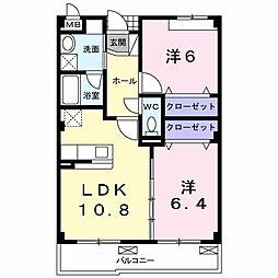サンクレール 北花田[3階]の間取り