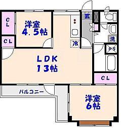 三須コーポ[401号室]の間取り