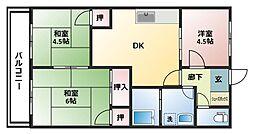 コーポ松尾 A棟[2階]の間取り