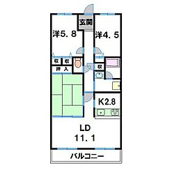 グランブルー近江八幡[305号室]の間取り