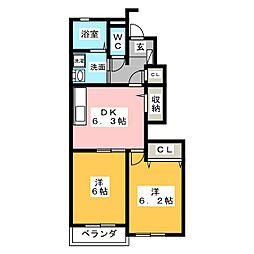 グランベール壱番館[1階]の間取り