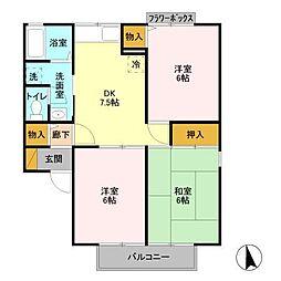 リッツハウス[B202号室]の間取り