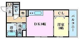 広島電鉄6系統 舟入川口町駅 徒歩3分の賃貸アパート 3階1DKの間取り