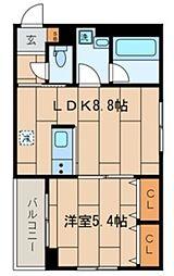 KR 1階1LDKの間取り