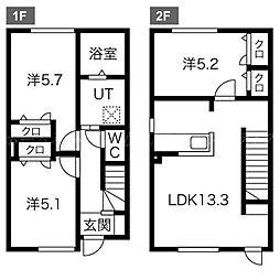 [テラスハウス] 北海道札幌市北区屯田七条6丁目 の賃貸【/】の間取り