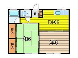 飯塚コーポ[101号室]の間取り