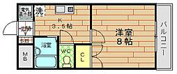 大阪府大阪市此花区西九条2丁目の賃貸マンションの間取り