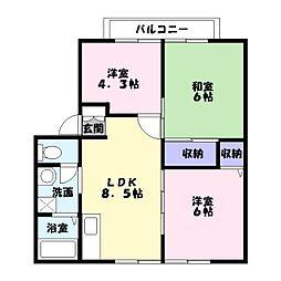 サンフォーレハイツA棟[1階]の間取り