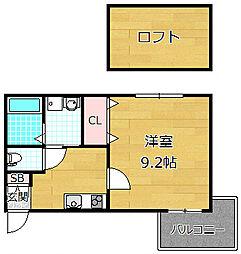 レジデンスナンワ香里園 B棟[2階]の間取り