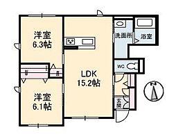 プロヌーブ南吉田[A103 号室号室]の間取り