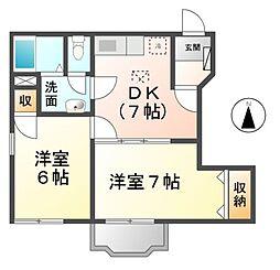 愛知県あま市甚目寺稲荷の賃貸アパートの間取り