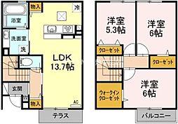 [テラスハウス] 岡山県倉敷市林 の賃貸【/】の間取り