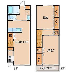 ファミーユ松里 1階2LDKの間取り