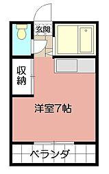 福岡県北九州市戸畑区中原東1丁目の賃貸アパートの間取り
