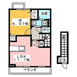 ハピネス岐南II[2階]の間取り