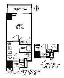 東京都墨田区両国3丁目の賃貸マンションの間取り