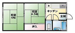 山翠荘[南2-9号室]の間取り