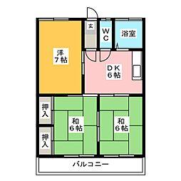 ビラ筑紫[2階]の間取り
