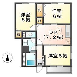 愛知県あま市新居屋鶴田の賃貸アパートの間取り
