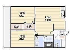 ファインコーポ汐井[205号室]の間取り