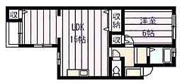 サンライズイナヤマB棟[4階]の間取り