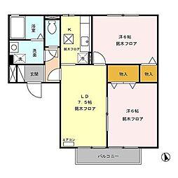 長野県長野市宮沖の賃貸アパートの間取り