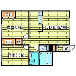 エルムハイツV[2階]の間取り