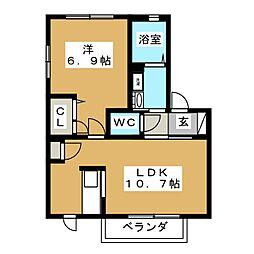 エスポワール二番堀[2階]の間取り