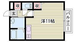 JR山陽本線 相生駅 バス30分 播磨高原中学校下車 徒歩3分の賃貸アパート 2階1Kの間取り