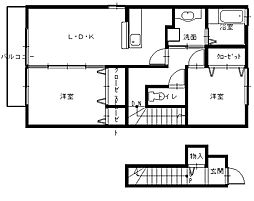 長崎県長崎市三和町の賃貸アパートの間取り