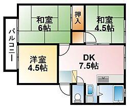 千葉県東金市東新宿の賃貸アパートの間取り