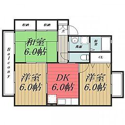 千葉県四街道市めいわ2の賃貸アパートの間取り